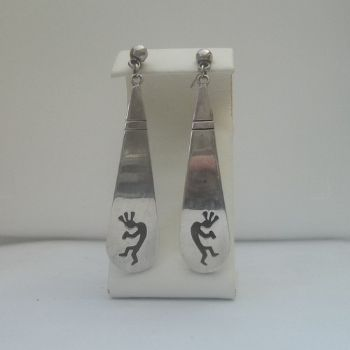 Hopi Style Earrings with Kokopelli Etching